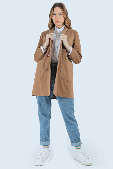 Sahra Afra Taba Cep Detaylı Ceket