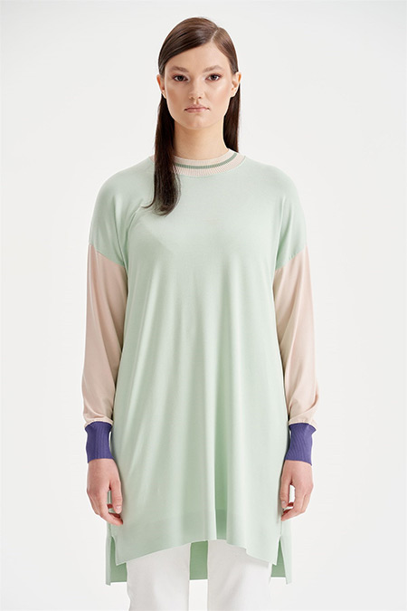 Tığ Triko Mint Colorblock Tunik