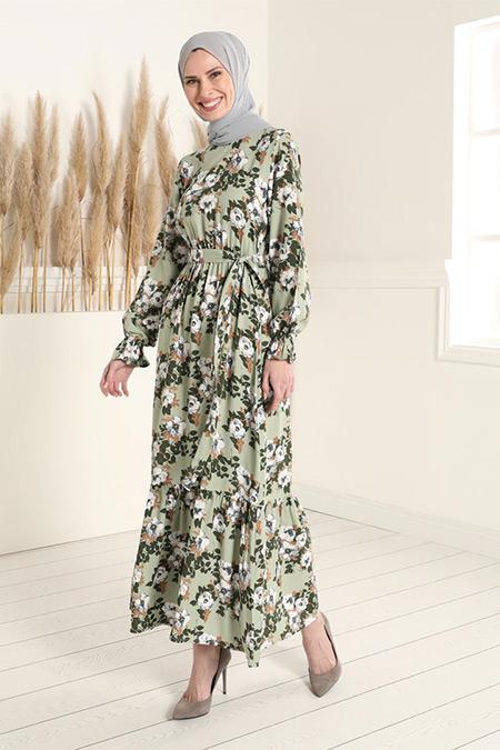 Tavin Çağla Doğal Kumaşlı Çiçek Desenli Beli Lastikli Elbise