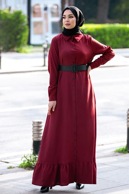 Tavin Bordo Boydan Düğme Detaylı Elbise