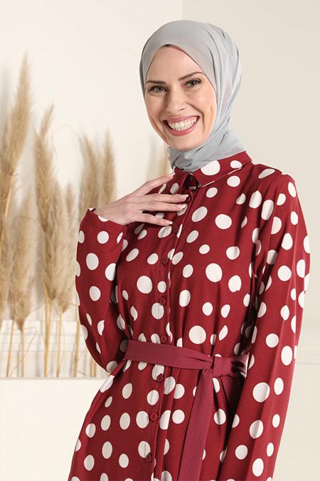 Tavin Koyu Gül Kurusu Kuşaklı Puantiye Desenli Elbise