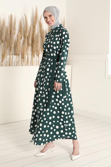 Tavin Zümrüt Yeşili Kuşaklı Puantiye Desenli Elbise