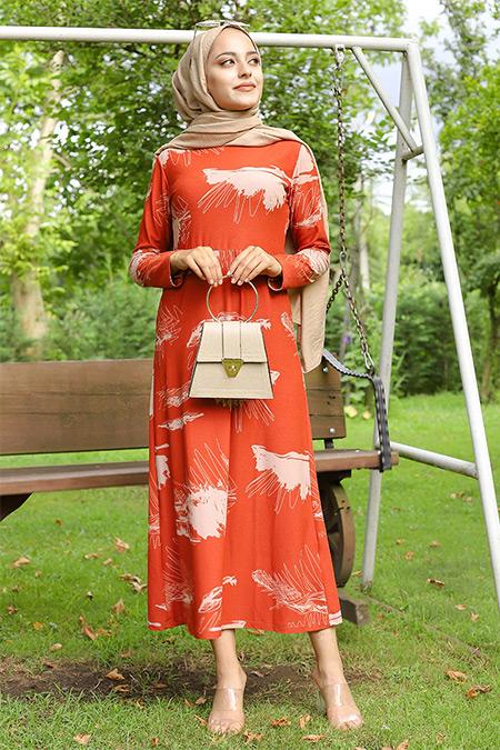 Tofisa Kiremit Çiçekli Elbise