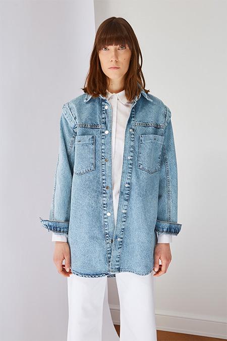 Trendyol Modest İndigo Cep Detaylı Denim Ceket