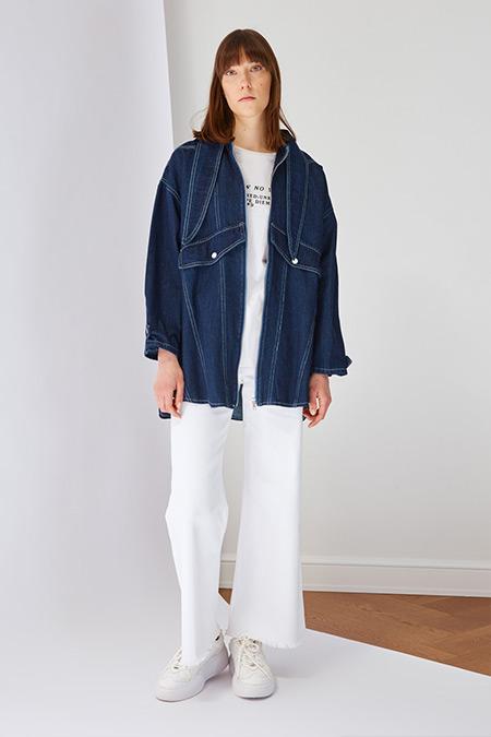 Trendyol Modest İndigo Yaka Detaylı Denim Ceket