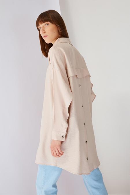 Trendyol Modest Bej Sırtta Düğme Detaylı Tunik