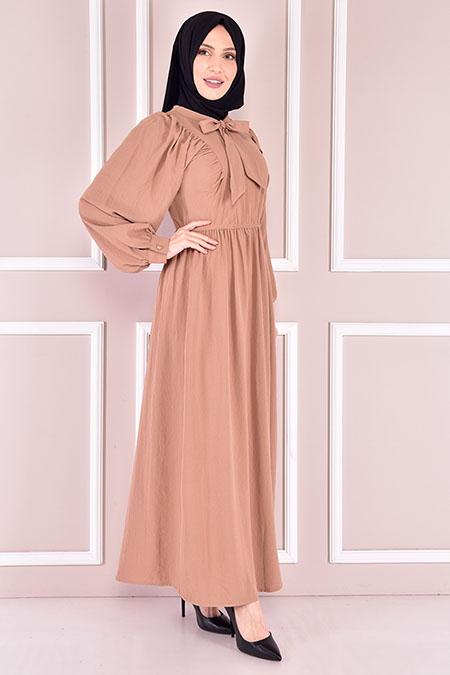 Modamerve Vizon Beli Lastikli Elbise