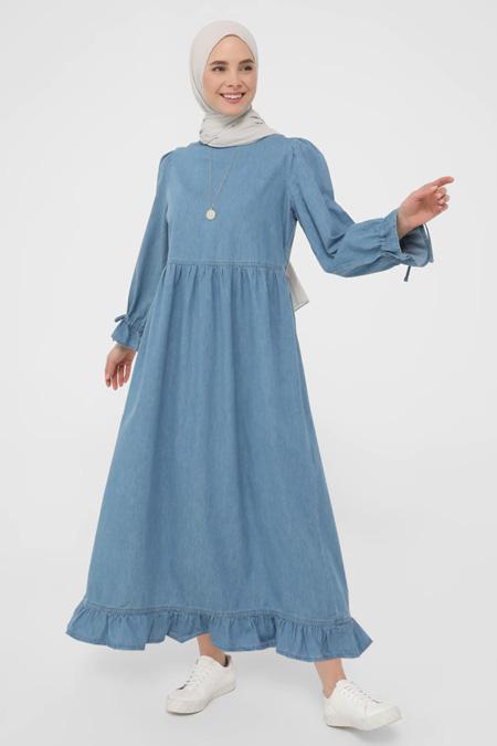 Benin Mavi Kol Detaylı Denim Elbise