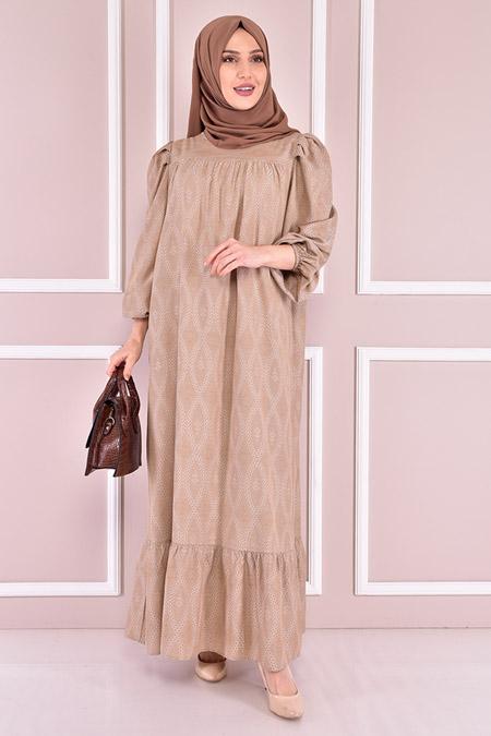 Modamerve Bej Desenli Elbise