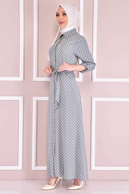 Modamerve Mint Desenli Elbise