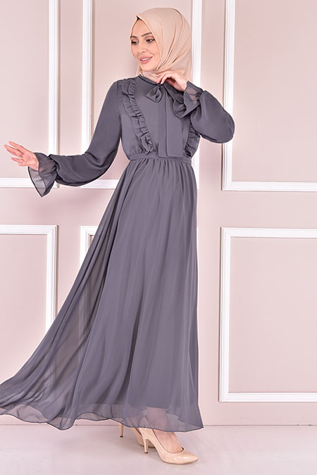 Modamerve Antrasit Fırfırlı Şifon Elbise