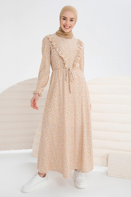 İnşirah Camel Desenli Elbise