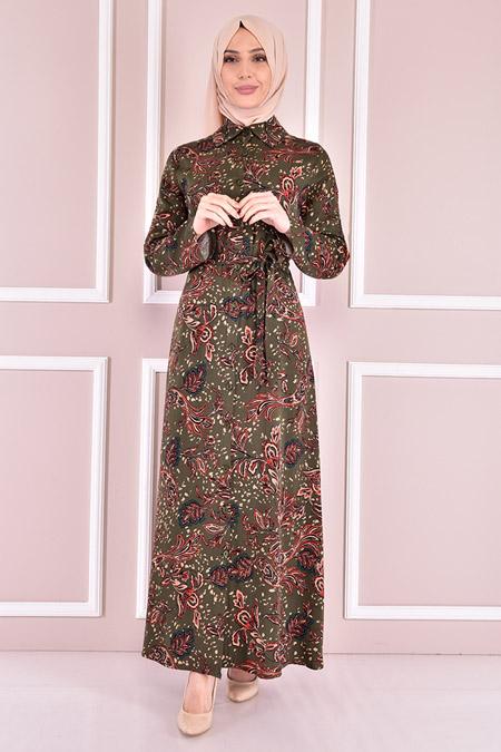 Modamerve Haki Kuşaklı Elbise