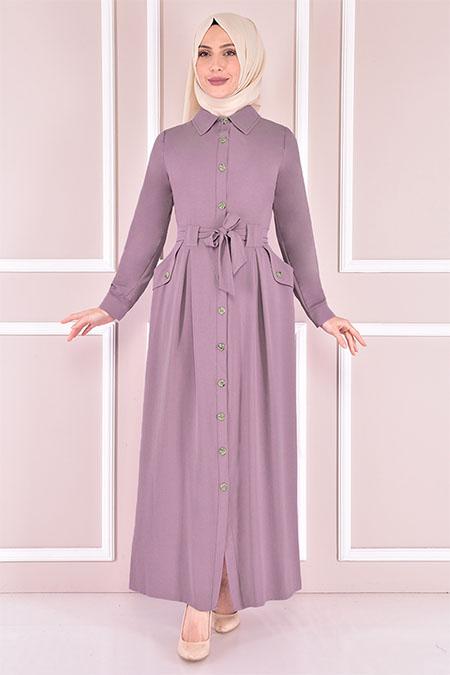 Modamerve Lila Kuşaklı Elbise