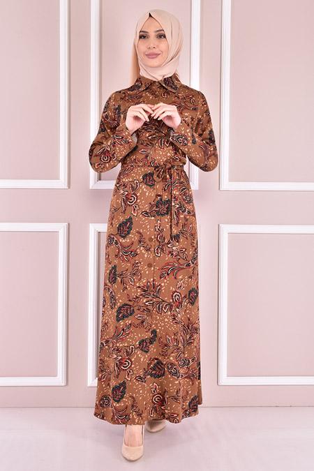 Modamerve Taba Kuşaklı Elbise