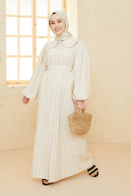 Loreen Latte Uzun Elbise
