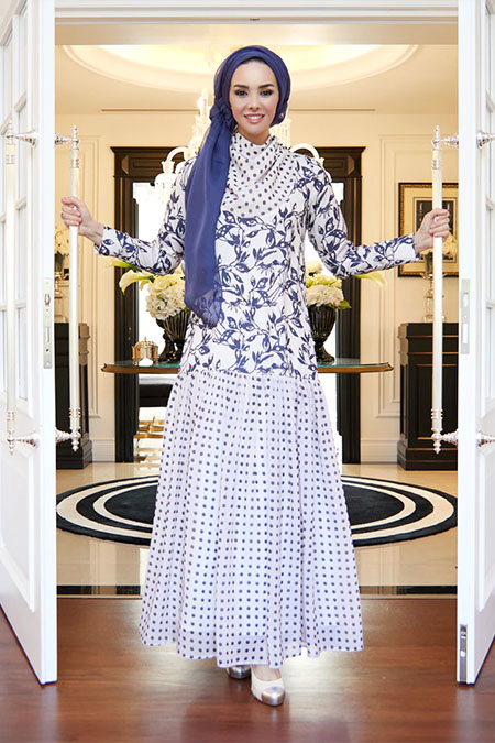 Rohs Fashion Lacivert Pudra Büzgülü Desenli Uzun Elbise
