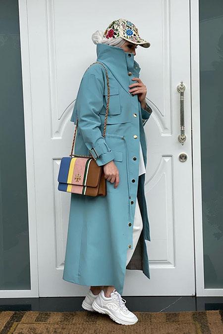 Rohs Fashion Mavi Büzgü Bağcıklı Uzun Trençkot