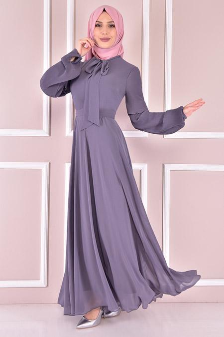 Modamerve Antrasit Şifon Elbise