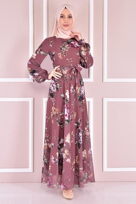 Modamerve Gül Kurusu Şifon Elbise