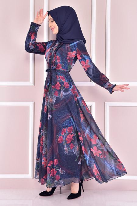 Modamerve Lacivert Şifon Elbise