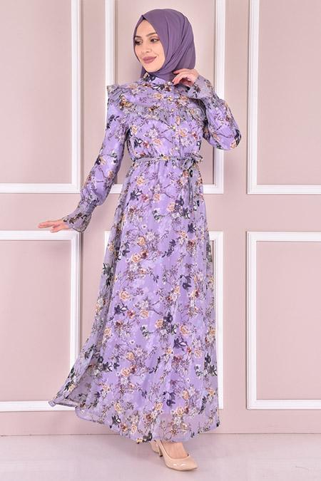 Modamerve Lila Çiçek Desenli Şifon Elbise