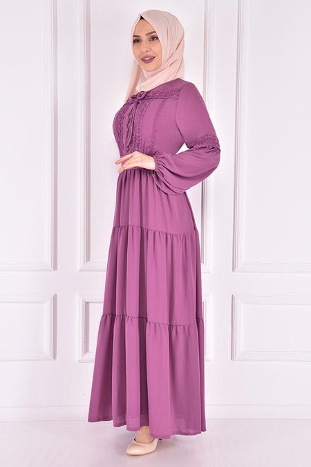 Modamerve Mor Şifon Elbise