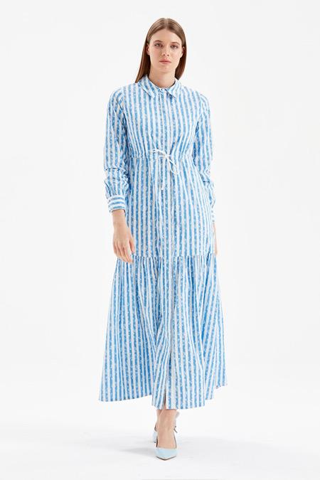 Kayra Mavi Çiçekli Çizgili Uzun Elbise
