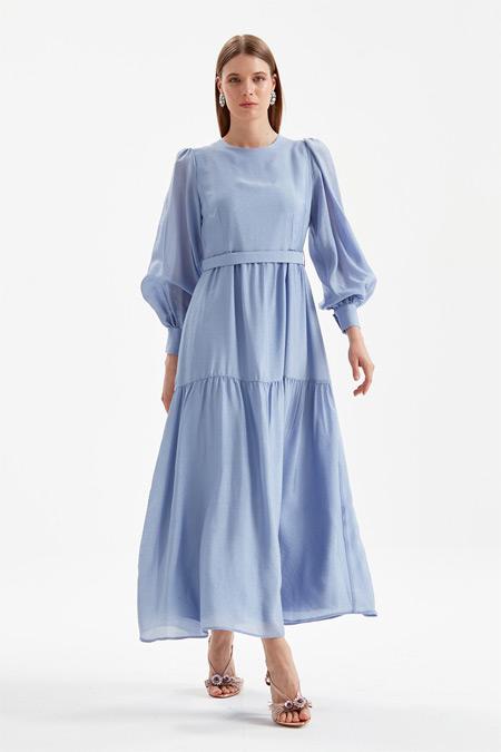 Kayra Mavi Balon Kol Şık Elbise
