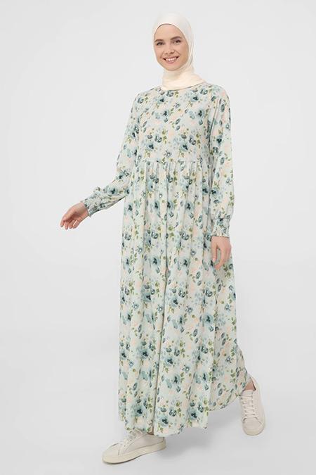 Benin Çağla Kol ucu Gipe Detaylı Çiçek Baskılı Elbise