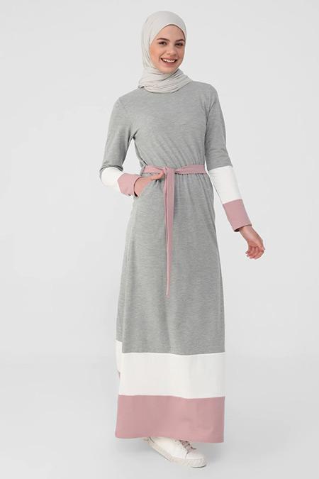 Benin Gri Beyaz Derin Pembe Doğal Kumaşlı Renk Bloklu Kuşaklı Elbise