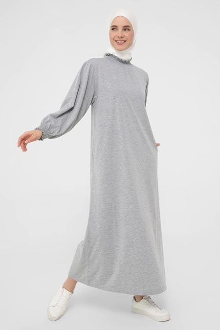 Benin Gri Kol ve Yaka Gipe Detaylı Rahat Elbise