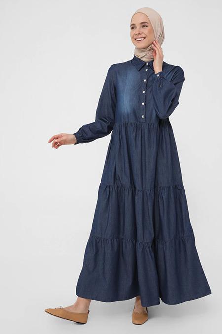 Benin Lacivert Doğal Kumaşlı Büzgü Detaylı Maksi Kot Elbise