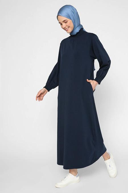 Benin Lacivert Kol ve Yaka Gipe Detaylı Rahat Elbise