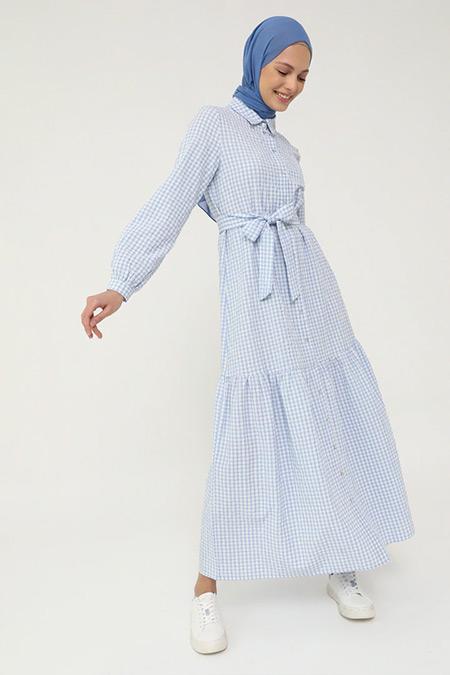 Benin Mavi Beli Kemerli Pötikareli Gömlek Elbise