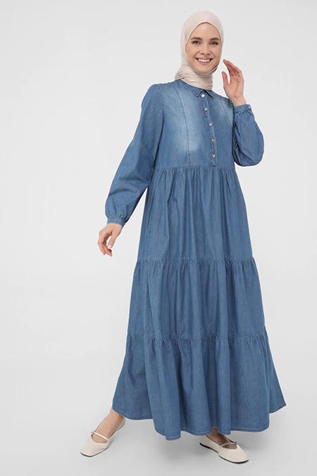 Benin Mavi Doğal Kumaşlı Büzgü Detaylı Maksi Kot Elbise
