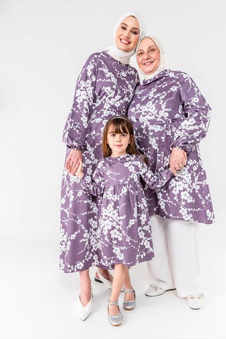 Ceylan Otantik Mürdüm Japon Çiçeği Reglan Kol Elbise