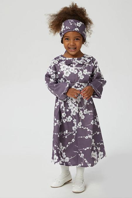 Ceylan Otantik Mürdüm Japon Çiçekli Bebe Yaka Kız Çocuk Elbise