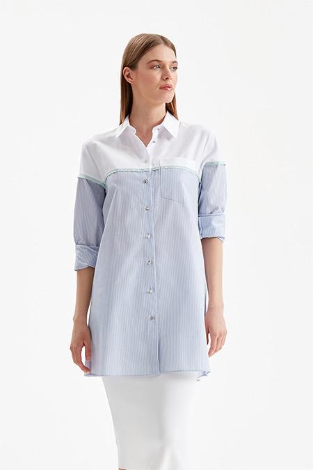 Doque Mavi Robadan Çizgili Gömlek Tunik