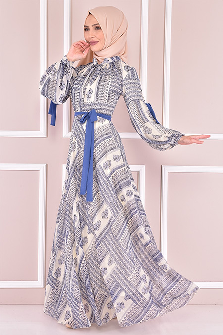 Modamerve İndigo Şifon Elbise
