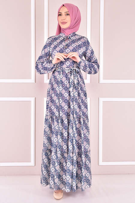 Modamerve İndigo Desenli Elbise