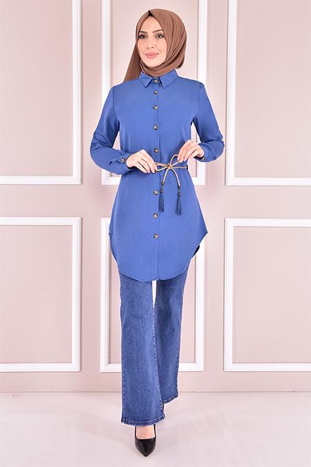Modamerve İndigo Kuşaklı Tunik