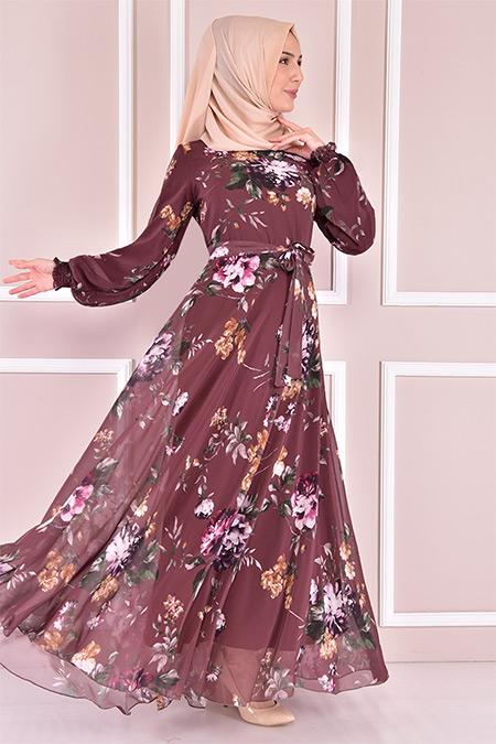Modamerve Kahverengi Şifon Elbise
