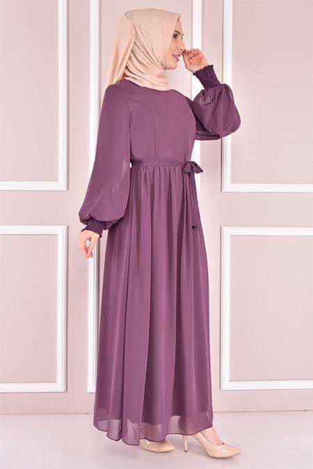 Modamerve Lila Şifon Elbise