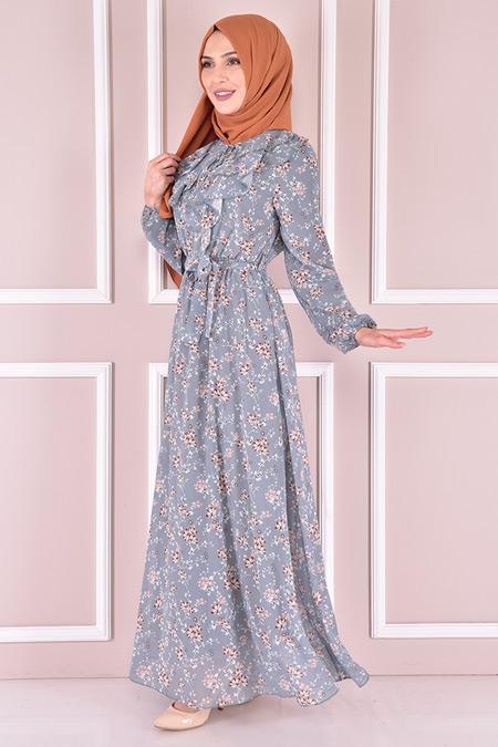 Modamerve Mint Şifon Elbise