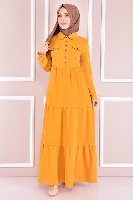 Modamerve Sarı Düğmeli Elbise
