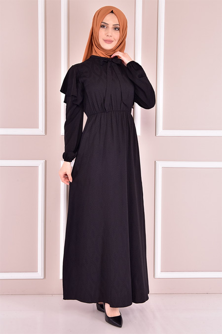 Modamerve Siyah Bağcıklı Elbise