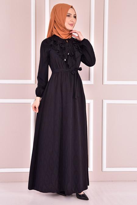 Modamerve Siyah Kuşaklı Elbise