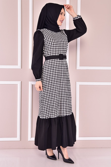 Modamerve Siyah Pötikare Elbise