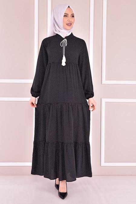 Modamerve Siyah Puantiyeli Elbise